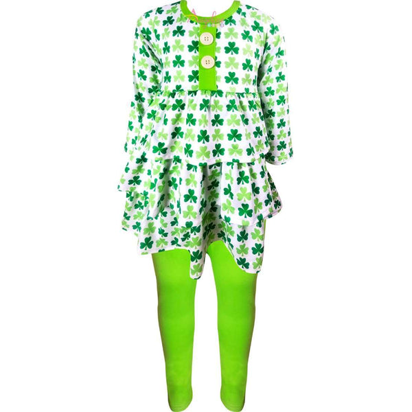 Angeline Kids:Girls St Patricks Day Shamrock Clover Tiered Top Leggings Set
