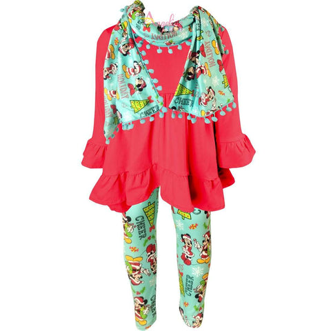 Image of Angeline Kids:Toddler Little Girls Disney Christmas Minnie Mickey Mouse Scarf Outfit - Hot Pink Mint
