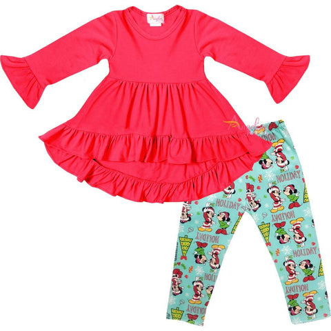 Angeline Kids:Toddler Little Girls Disney Christmas Minnie Mickey Mouse Scarf Outfit - Hot Pink Mint