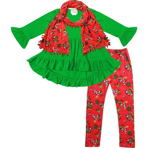 Angeline Kids:Toddler Little Girls Disney Christmas Minnie Mickey Scarf Outfit - Green Red