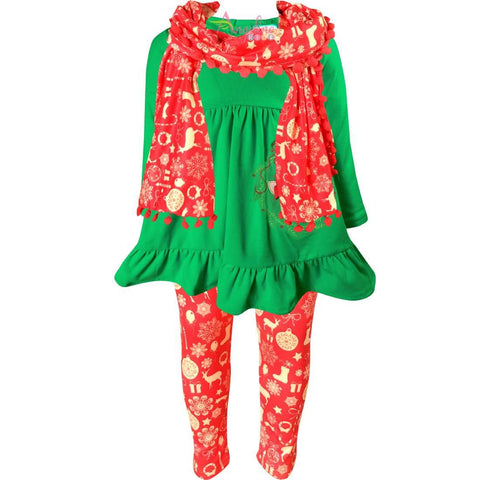 Angeline Kids:Toddler Little Girls Merry Christmas Reindeer Scarf Outfit