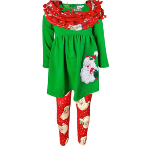Angeline Kids:Toddler Little Girls Merry Christmas Santa Scarf Outfit Set