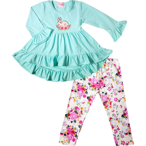 Angeline Kids:Baby Toddler Girls Easter Bunny Hi-Low Tunic Legging Set