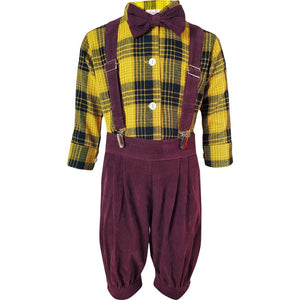 Angeline Kids:Baby Toddler Little Boys Vintage Suspender Bowtie Knickers Suit - Mustard Brown