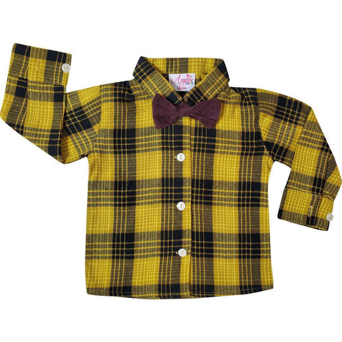 Image of Angeline Kids:Baby Toddler Little Boys Vintage Suspender Bowtie Knickers Suit - Mustard Brown