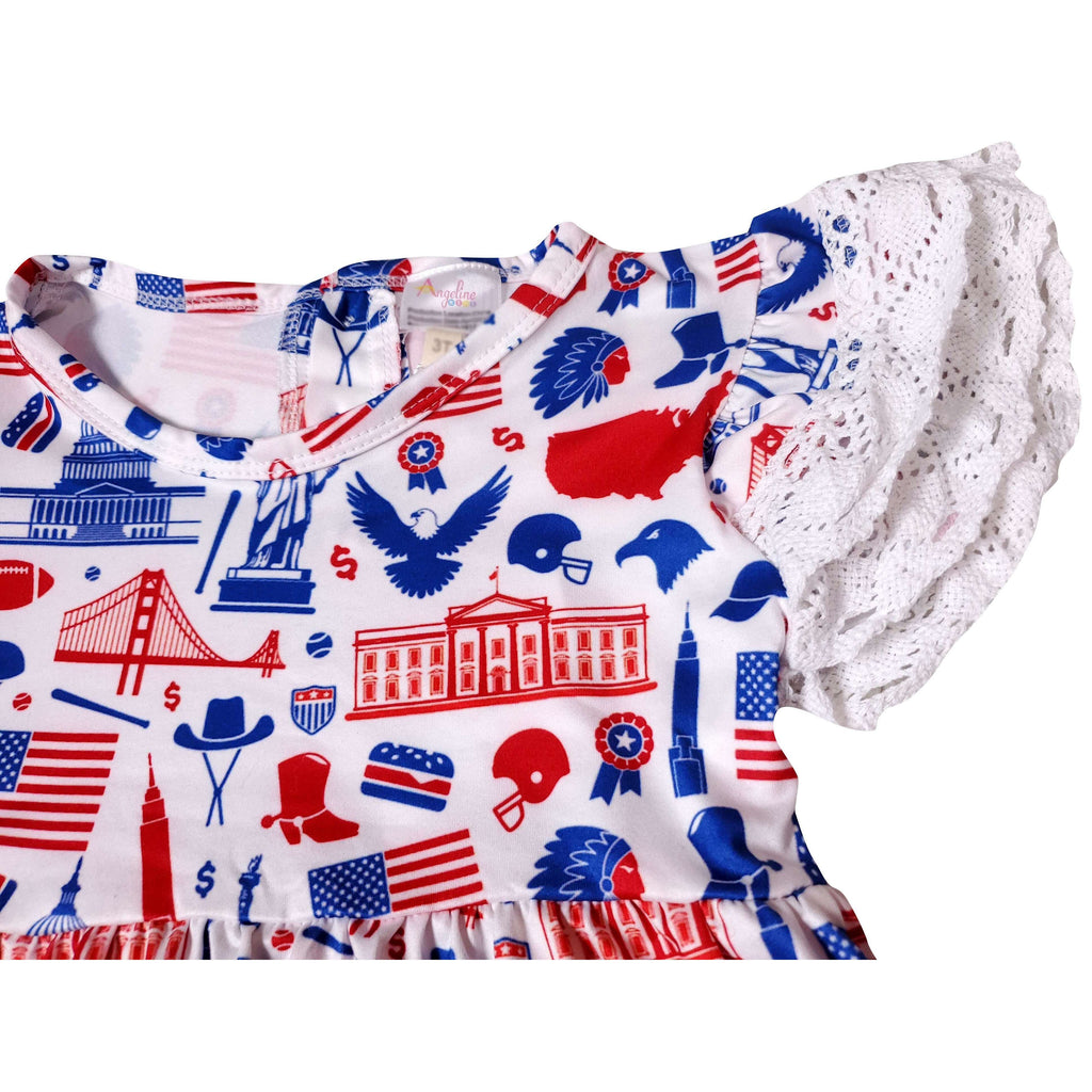 Angeline Kids:Baby Toddler Little Girls 4th Of July Patriotic USA Ruffles Top Capri Outfit Set