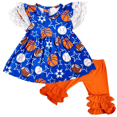 Angeline Kids:Baby Toddler Little Girls Ball Games Top Capri Set