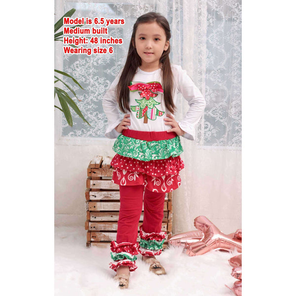 Angeline Kids:Baby Toddler Little Girls Christmas Tree Ruffles Skirt Set - Red White