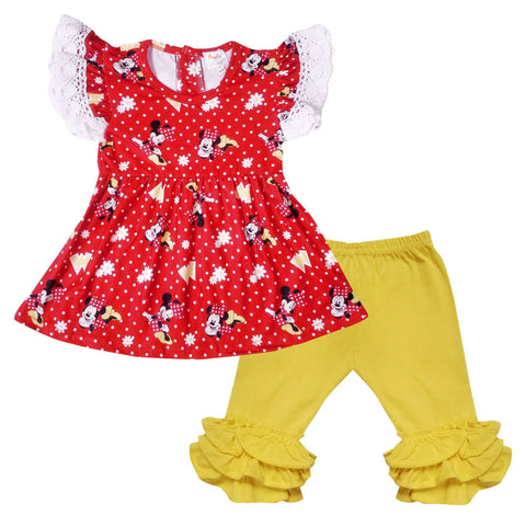 Angeline Kids:Baby Toddler Little Girls Disney Character Minnie Mouse Daisy Capri Set