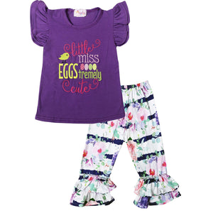 Angeline Kids:Baby Toddler Little Girls Easter Little Miss Eggstremely Cute Capri Set