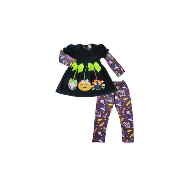 Angeline Kids:Baby Toddler Little Girls Halloween Hanging Ornaments Trick or Treat Tunic Leggings Set
