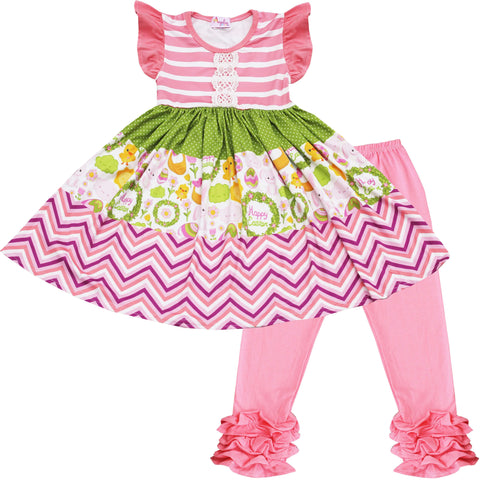 Angeline Kids:Baby Toddler Little Girls Happy Spring Easter Dress Capris Set 2pcs