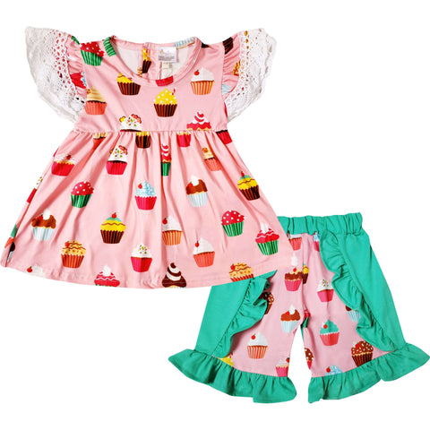 Angeline Kids:Baby Toddler Little Girls I Love Cupcake Ruffle Top Short Set