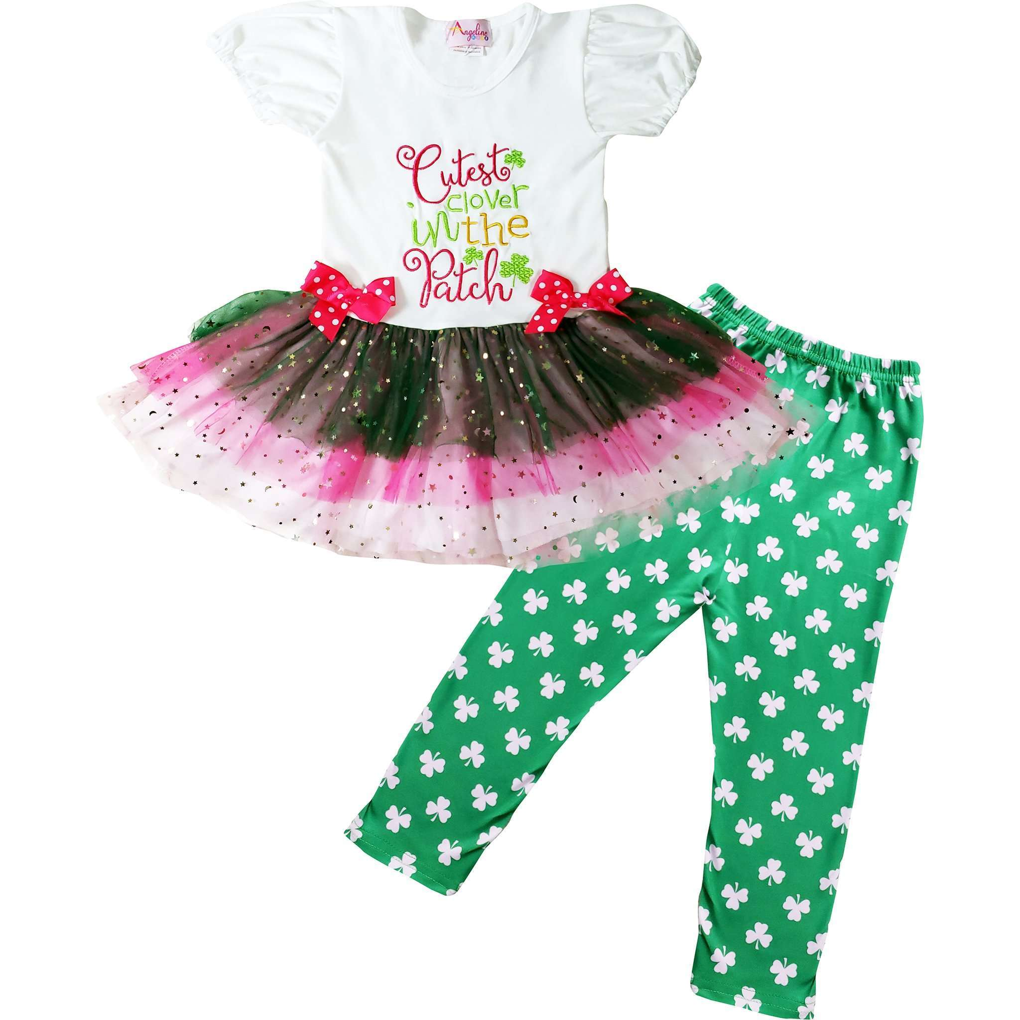 Angeline Kids:Baby Toddler Little Girls St. Patrick's Day Cutest Clover In The Patch Tutu Skirt Set