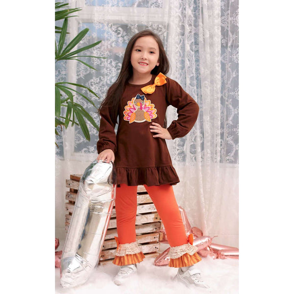 Angeline Kids:Baby Toddler Little Girls Thanksgiving Turkey Tunic Leggings Set - Brown Orange