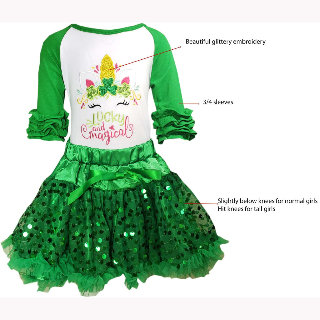 Angeline Kids:Baby Toddler Little Girls Unicorn Magical and Lucky Sequinned Tutu Skirt Set