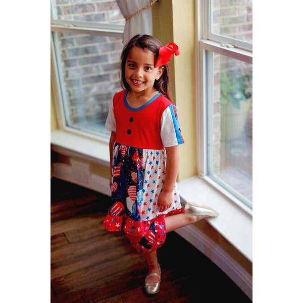 Angeline Kids:Happy Birthday America Dress Capri Set