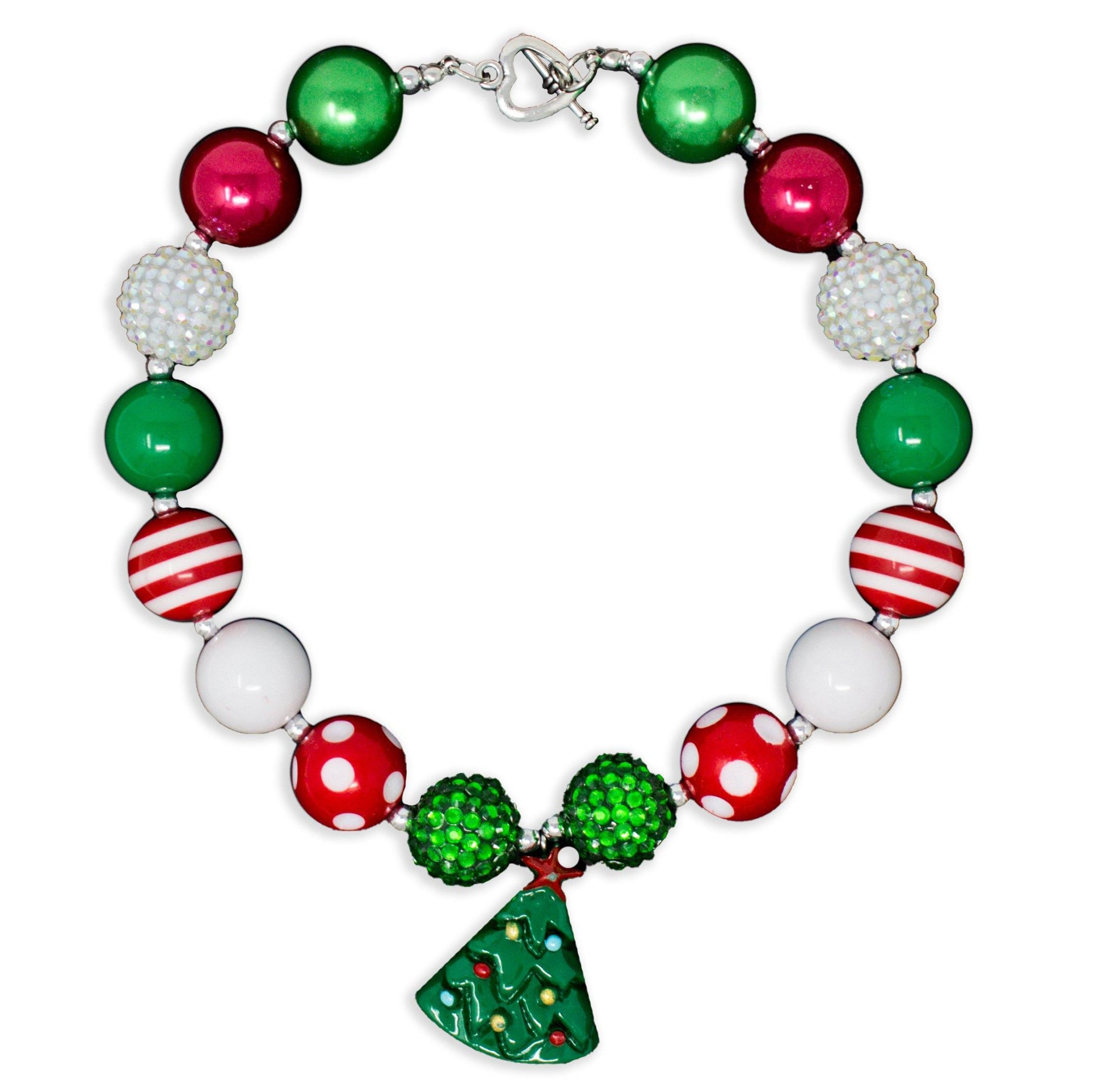 Girls Christmas Tree  Bubblegums Chunky Necklace Jewelry