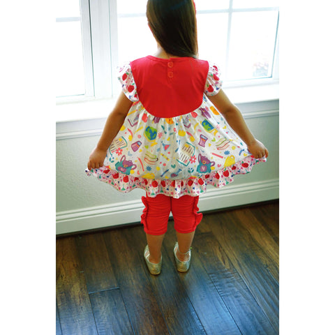 Image of Angeline Kids:Toddler Little Girls Back To School Ruffles Tunic Capri Outfit Set Red/Damask