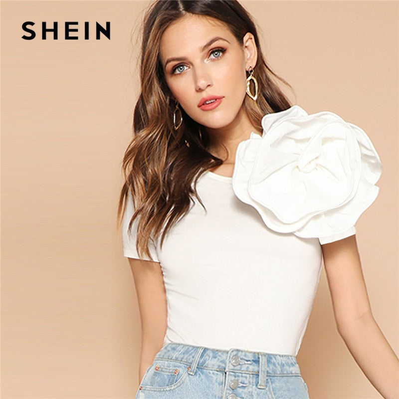 c2102a215e SHEIN White Solid Flower Embellished Fitted Top T Shirt Women Summer Slim  Fit Short Sleeve Party