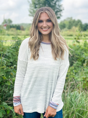 heathered waffle knit colorful cuff long sleeves