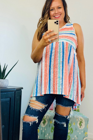 Baby Doll Top, Stripes, Neon color, Boho Pretty