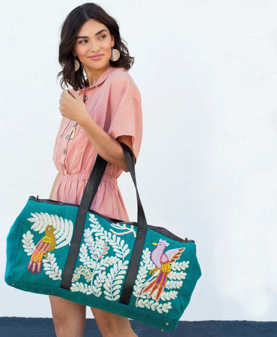 Birds of Paradise Weekender Bag, Noonday Collection, Boho pretty, boutique, fair Trade, Style