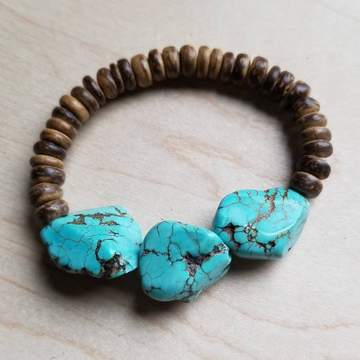 Turquoise chunks, wooden bracelet, boho pretty, women's clothing, fashion, how to style a white blouse