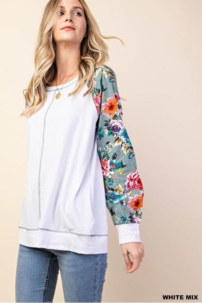 Mix and Match Floral Print Raglan Sleeve Top with Stitches Detail   95% Rayon 5% Spandex