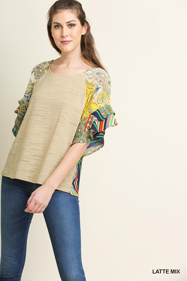 Mixed Print Heathered Knit Round Neck Top with Layered Ruffle Sleeves