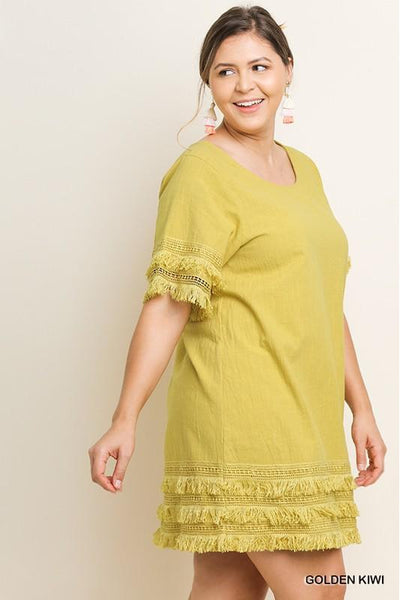 Plus Size Short Sleeve Round Neck Dress with Layered Fringe and Crochet Hems