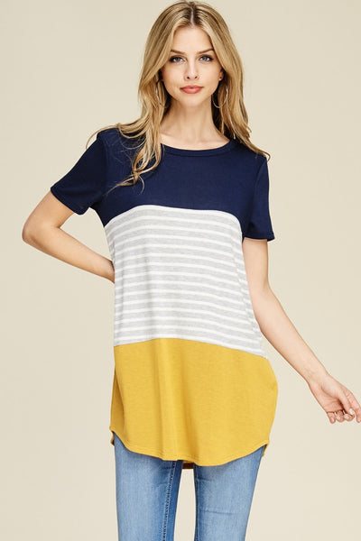Short Sleeve Color Block Casual Tunic Top Solid Stripe.