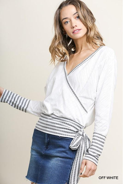 Striped and Solid Long Sleeve V-Neck Crossbody Knit Top with Waist Tie