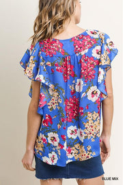 Floral Print Short Ruffle Sleeve Split V-Neck Top