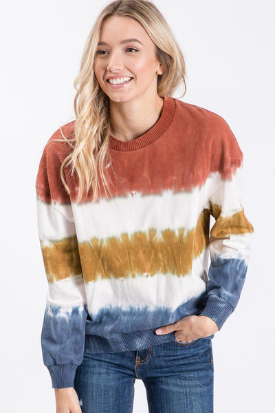 Color variations and uneven stripe are the result of the dyeing process and are part of this garment's individual beauty* This on-trend tie-dye top is unique for each handmade piece and made with 100% cotton heavyweight cotton. Fashioned with Ribband for sleeve band and neckband. Perfect transitional piece.