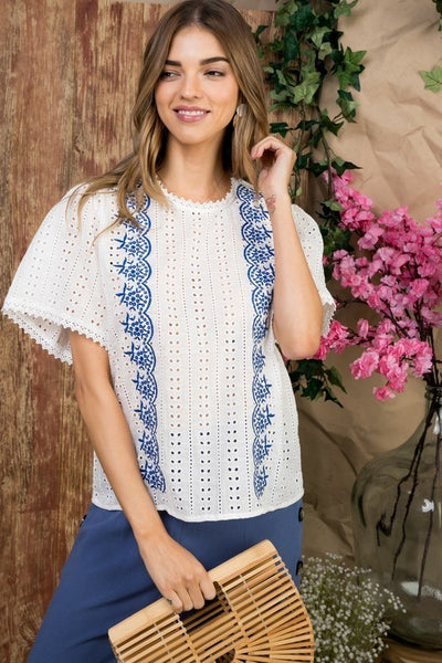 Ruffle Sleeve With Back Button Embroidered Woven Top
