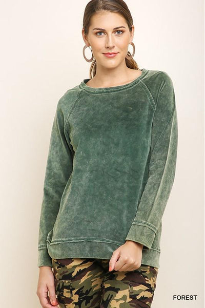 Fall Breeze Top, Forest, Velvet, Crewneck, Fashion, Boho Pretty