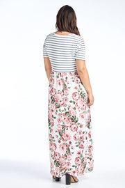 Maxi Dress with striped top and floral bottom pattern.