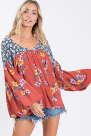 Perfect Boho Floral Top Especially The Rust Color!   Floral Self and Contrast Mixed woven top Features Bishop long sleeve, V-neck and back, pleated front and back, comfortable fit.
