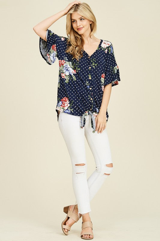 Ruffle Sleeve Floral Easy Fit Hi-Low Semi-Open Tunic Detailing Front Tie , Wood Button at closed binding line on signature soft and buttery hand feel fabric.