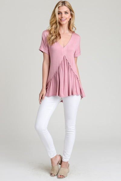 Everyday Perfection Top, Mauve, Asymmetric Peplum, Trendy, Fashion