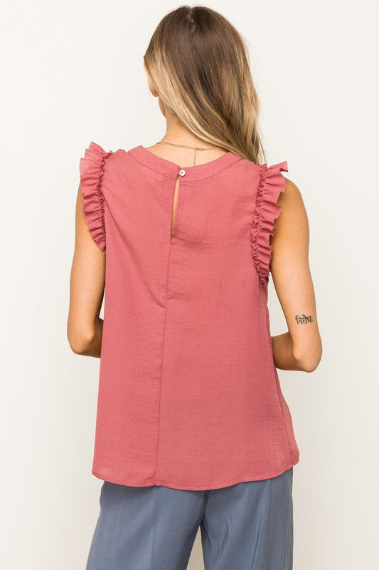 Lace Insert Ruffle Detail Sleeveless Top   100% Polyester