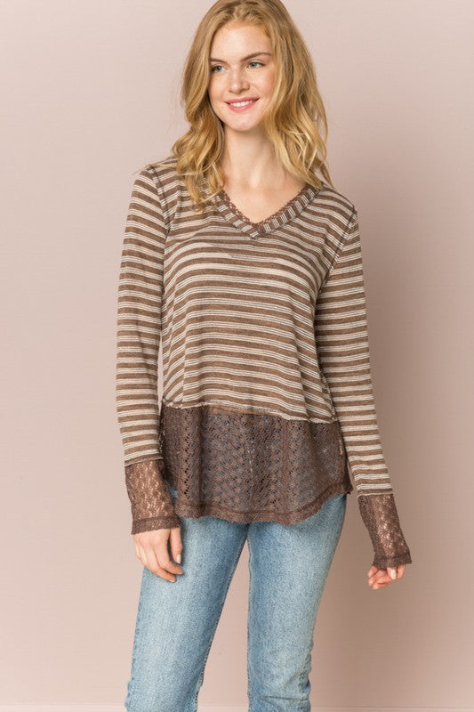Wake Up Call Top, Brown, Lace, V-Neck, Stripes, Boho Pretty