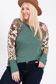 Country Vibes With This Top Floral,Cow and Leopard Mixed Print.2