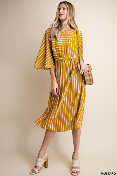 Asymmetry hem line wild bell sleeve stripe dress timeless dress boho pretty