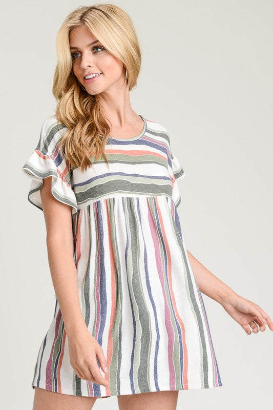 Fun and Fearless Top, Stripes, Ruffles, Boho, Trendy, Fashion