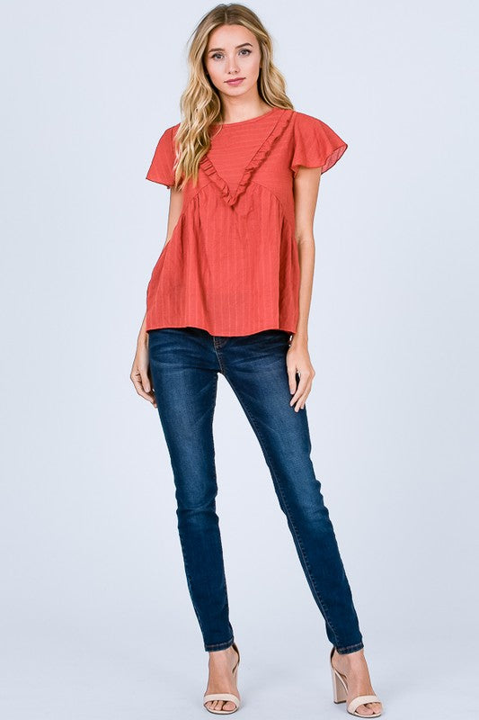 Meet Me In The Middle Top, Rust, Ruffle Detail, Fashion, Boho Pretty