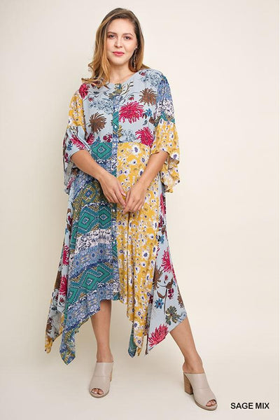 Multicolor Floral Bell Sleeve Button Front Maxi Dress with Sharkbite Hem