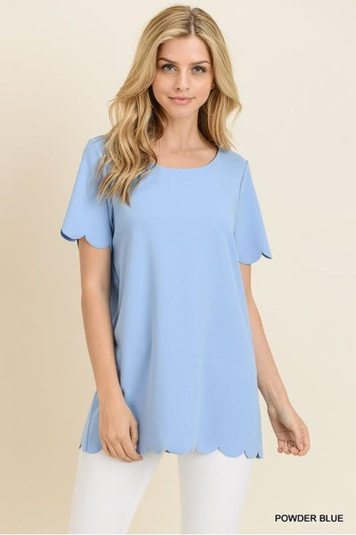So Scalloped Top, Powder Blue, Fashion, Boho Pretty