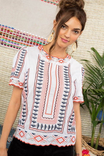 Round Neck Short Sleeve Embroidered Detail Top